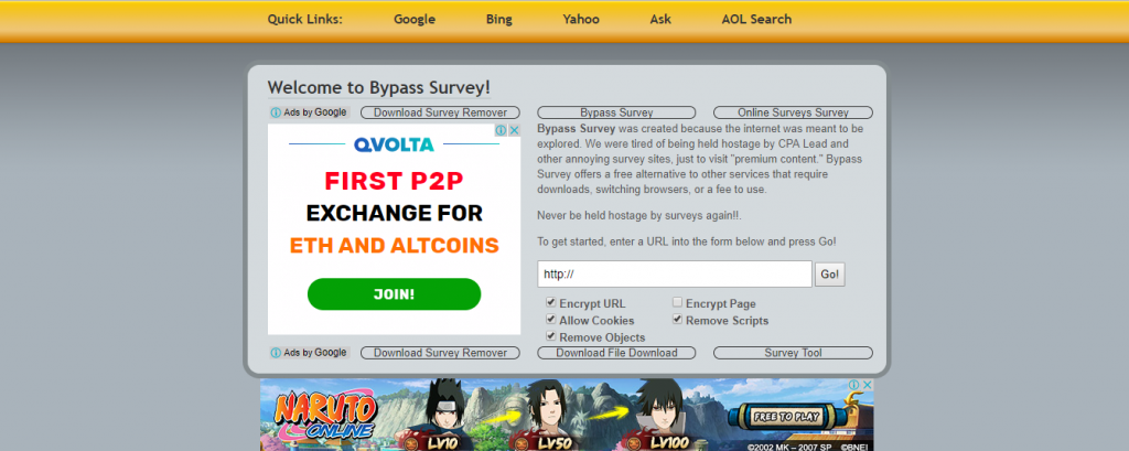 how to bypass surveys to download files
